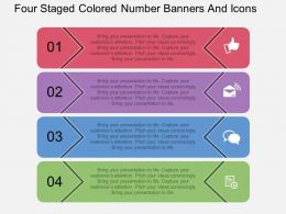 jy Four Staged Colored Number Banners And Icons Flat Powerpoint Design