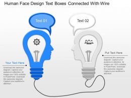 jy Human Face Design Text Boxes Connected With Wire Powerpoint Template
