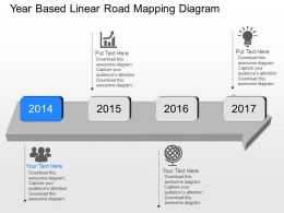 Jy Year Based Linear Road Mapping Diagram Powerpoint Template