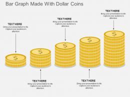 ka Bar Graph Made With Dollar Coins Flat Powerpoint Design