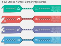 ka Four Staged Number Banner Infographics Flat Powerpoint Design