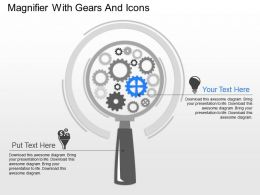 ka Magnifier With Gears And Icons Powerpoint Template