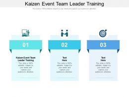 Kaizen Event Team Leader Training Ppt Powerpoint Presentation Portfolio Show Cpb