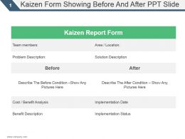 Kaizen Form Showing Before And After Ppt Slide