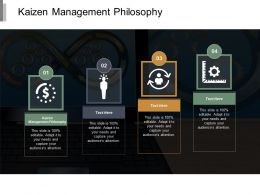 Kaizen Management Philosophy Ppt Powerpoint Presentation Portfolio Ideas Cpb