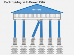 kb Bank Building With Broken Pillar Flat Powerpoint Design