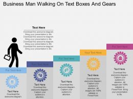 Kb Business Man Walking On Text Boxes And Gears Flat Powerpoint Design