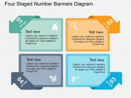 kb Four Staged Number Banners Diagram Flat Powerpoint Design