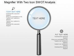 kb Magnifier With Two Icons Swot Analysis Powerpoint Template