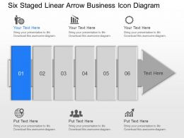 Kb Six Staged Linear Arrow Business Icon Diagram Powerpoint Template