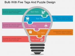 kc_bulb_with_five_tags_and_puzzle_design_flat_powerpoint_design_Slide01