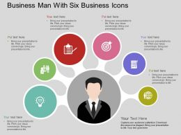 Kc Business Man With Six Business Icons Flat Powerpoint Design
