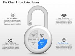 kc Pie Chart In Lock And Icons Powerpoint Template