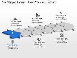 Kc Six Staged Linear Flow Process Diagram Powerpoint Template