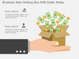 kd Business Man Holding Box With Dollar Notes Flat Powerpoint Design