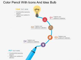 kd Color Pencil With Icons And Idea Bulb Flat Powerpoint Design