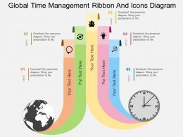 kd Global Time Management Ribbon And Icons Diagram Flat Powerpoint Design