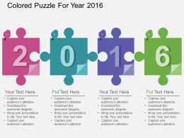 ke Colored Puzzle For Year 2016 Flat Powerpoint Design