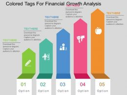 Ke Colored Tags For Financial Growth Analysis Flat Powerpoint Design