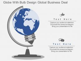 ke Globe With Bulb Design Global Business Deal Flat Powerpoint Design