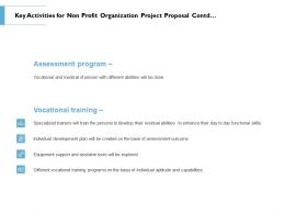 Key Activities For Non Profit Organization Project Proposal Contd Ppt Powerpoint Deck