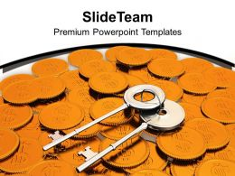 Key And Coins Profit Beautiful Background PowerPoint Templates PPT Themes And Graphics 0213