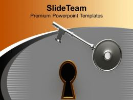 Key And Golden Keyhole Lock PowerPoint Templates PPT Themes And Graphics 0213
