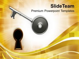 Key And Keyhole Over Golden Background Powerpoint Templates Ppt Themes And Graphics
