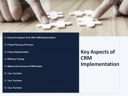 Key Aspects Of CRM Implementation Ppt Powerpoint Presentation Layouts
