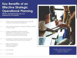 Key Benefits Of An Effective Strategic Operational Planning
