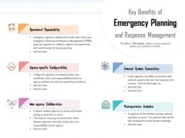 Key Benefits Of Emergency Planning And Response Management