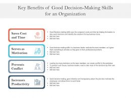 Key Benefits Of Good Decision Making Skills For An Organization