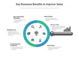 Key Business Benefits To Improve Sales