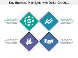 Key Business Highlights With Dollar Graph And Handshake Image