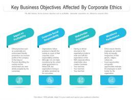 Key Business Objectives Affected By Corporate Ethics