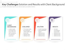 Key Challenges Solution And Results With Client Background