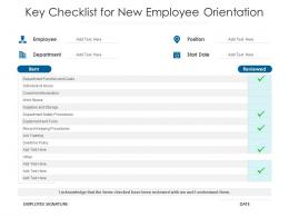 Key Checklist For New Employee Orientation