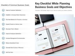 Key Checklist While Planning Business Goals And Objectives
