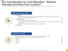 Key Consideration For Cost Estimation Release Planning And Fixed Price Contract Software Project Cost Estimation IT