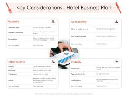 Key Considerations Hotel Business Plan Hotel Management Industry Ppt Designs