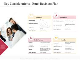 Key Considerations Hotel Business Plan Of Exterior M4244 Ppt Powerpoint Presentation Pictures Outfit