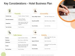 Key Considerations Hotel Business Plan Strategy For Hospitality Management Ppt Outline