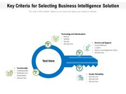 Key Criteria For Selecting Business Intelligence Solution