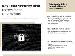 Key Data Security Risk Factors For An Organization