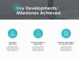 Key Developments Milestones Achieved Launched Ppt Powerpoint Presentation File