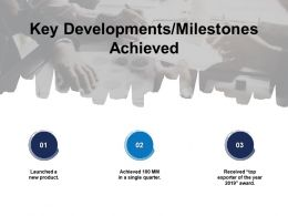Key Developments Milestones Achieved Launched Product Ppt Powerpoint Slides