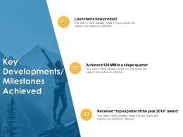 Key Developments Milestones Achieved Launched Quarter Ppt Powerpoint Clipart