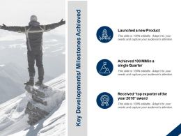 Key Developments Milestones Achieved Mission Winner Ppt Powerpoint Presentation Slides Rules
