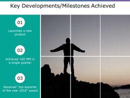 Key Developments Milestones Achieved Ppt Model Display