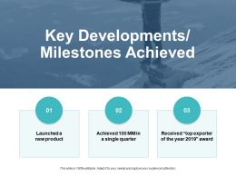 Key Developments Milestones Achieved Ppt Powerpoint Presentation File Graphics Pictures